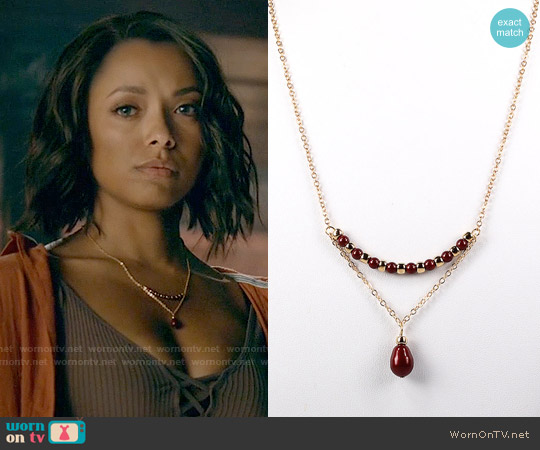 NouveauTique Oxblood and Gold Swarovski Pearl and Chain Trapeze Necklace worn by Kat Graham on The Vampire Diaries