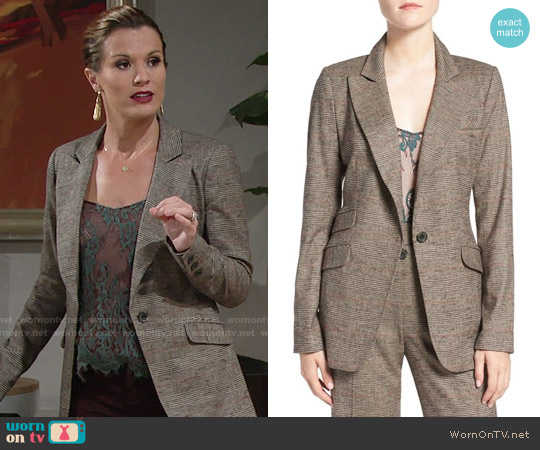 Olivia Palermo + Chelsea28 Glen Plaid Blazer worn by Chelsea Lawson on The Young & the Restless