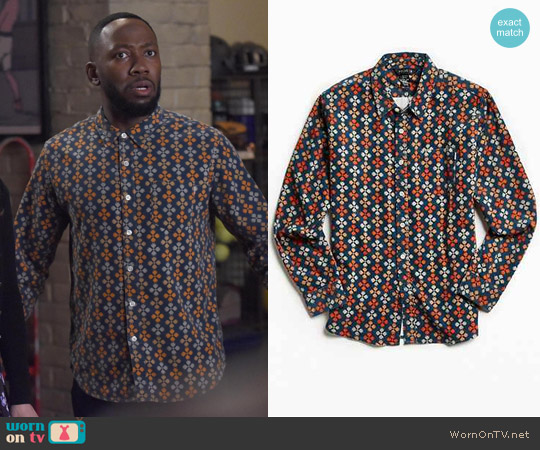 Poler Bear Paw Print Corduroy Button-Down Shirt worn by Lamorne Morris on New Girl