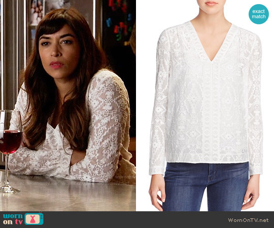 Rebecca Taylor Embellished Top worn by Hannah Simone on New Girl