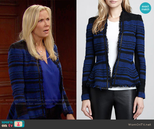 Rebecca Taylor Striped Leather-Trim Tweed Jacket worn by Katherine Kelly Lang on The Bold & the Beautiful