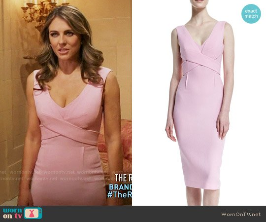 Roland Mouret Sleeveless Crepe Crisscross Sheath Dress worn by Queen Helena (Elizabeth Hurley) on The Royals