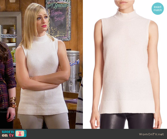 Saks Fifth Avenue Collection Cashmere Mock Neck Top worn by Caroline Channing (Beth Behrs) on 2 Broke Girls