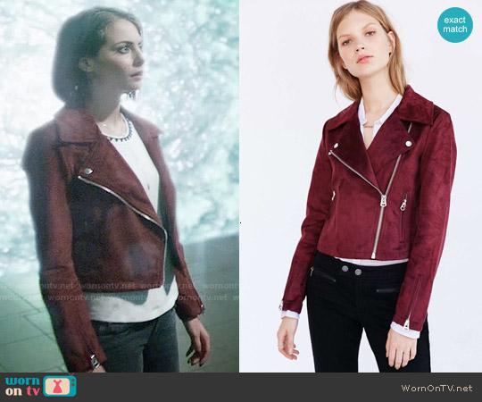 Silence + Noise Vegan Suede Biker Jacket worn by Thea Queen (Willa Holland) on Arrow