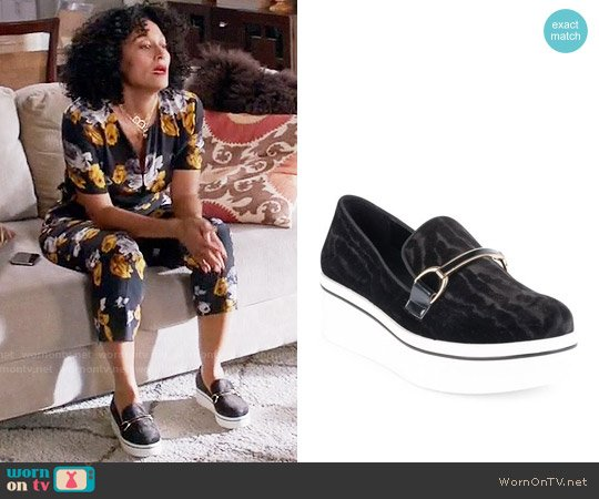 Stella McCartney Binx Chain Velvet Platform Loafers worn by Rainbow Johnson on Blackish