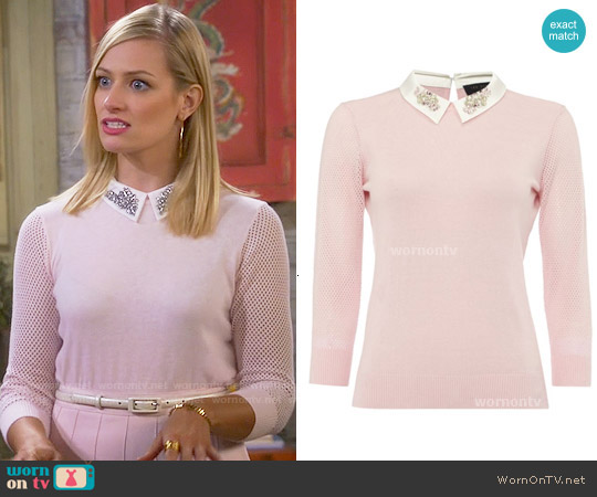 Ted Baker Helane Sweater worn by Caroline Channing (Beth Behrs) on 2 Broke Girls