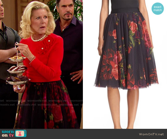 Ted Baker Ondra Juxtapose Rose Tutu Midi Skirt worn by Pamela Douglas (Alley Mills) on The Bold & the Beautiful