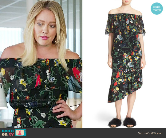 Tibi Print Ruffle Off Shoulder Top and Skirt worn by Hilary Duff on Younger
