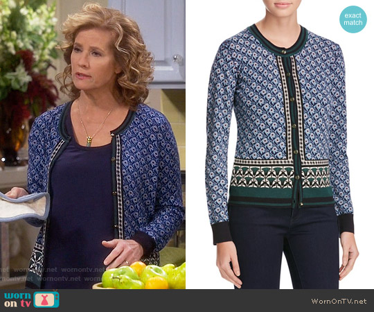Tory Burch Amble Floral Wool Cardigan worn by Vanessa Baxter (Nancy Travis) on Last Man Standing