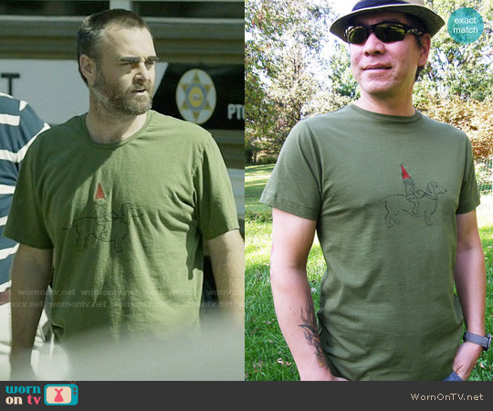 Vivasweetlove Dachshund & Gnome T-Shirt worn by Phil Miller (Will Forte) on Last Man On Earth
