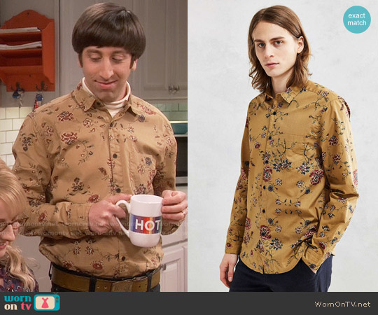 Urban Outfitters Your Neighbors Ornate Floral Button-Down Shirt worn by Simon Helberg on The Big Bang Theory