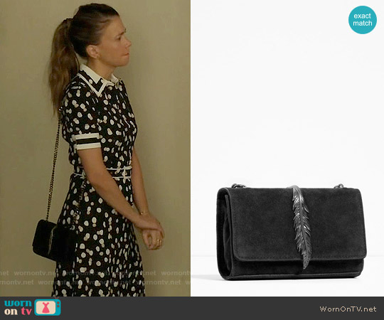 Zara Leather Cross Body Bag with Metal Detail worn by Sutton Foster on Younger
