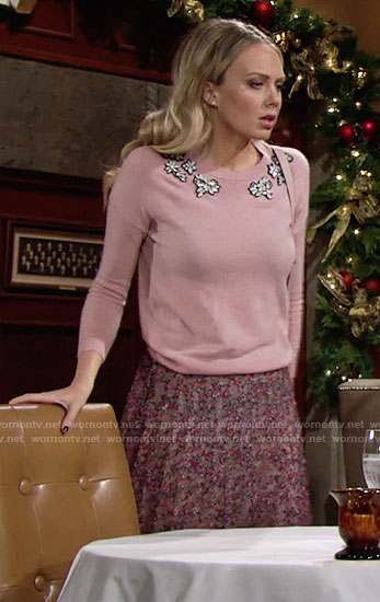 Abby's pink gemstone sweater and floral skirt on The Young and the Restless