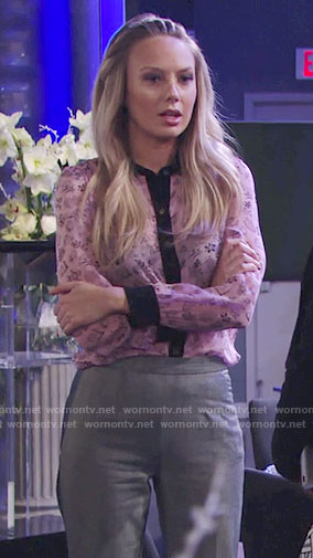 Abby's pink shirt with black trim on The Young and the Restless