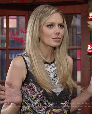 Abby's sleeveless paisley print top on The Young and the Restless
