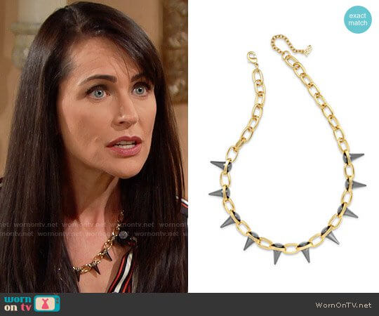 ABS by Allen Schwartz Two-Tone Spike Collar Necklace worn by Rena Sofer on The Bold & the Beautiful
