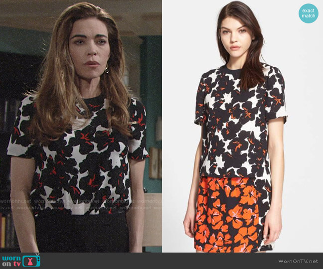 ALC Joan Silk Top worn by Victoria Newman (Amelia Heinle) on The Young & the Restless
