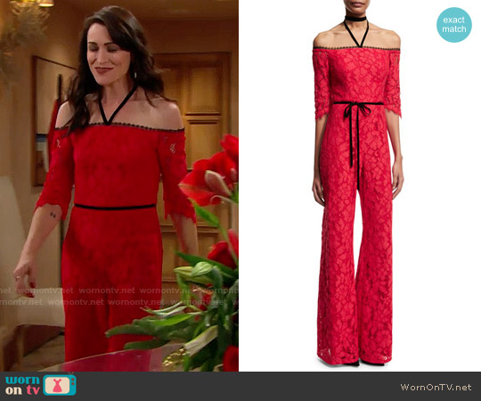 Alexis Joaquin Lace Jumpsuit worn by Quinn Fuller (Rena Sofer) on The Bold & the Beautiful
