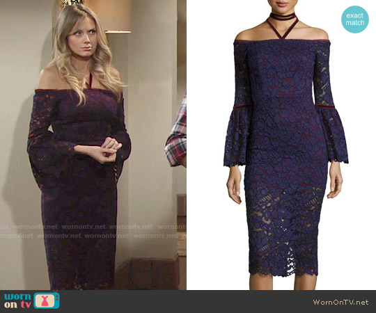 Alexis Belin Off-the-Shoulder Lace Dress w/ Velvet Necktie worn by Melissa Ordway on The Young & the Restless