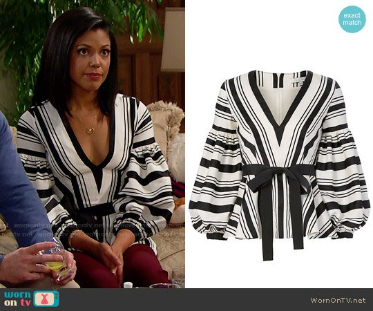 Alexis Sienna Top worn by Karla Mosley on The Bold & the Beautiful