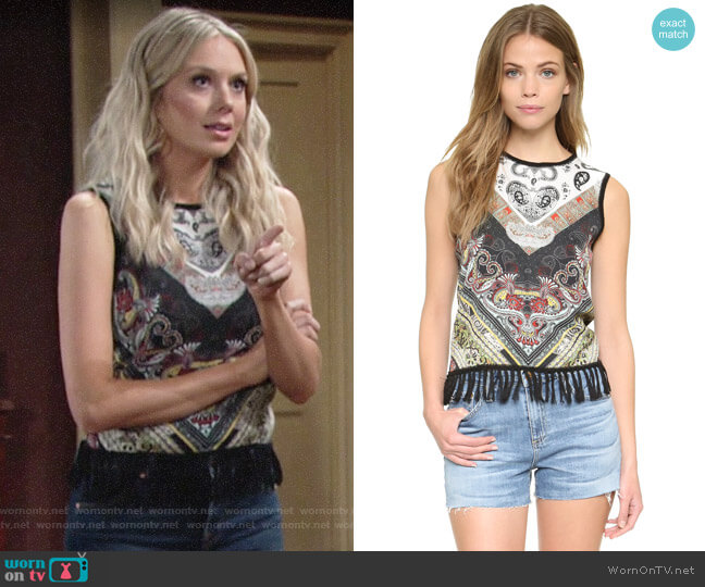 Alice + Olivia Annalea Fringe Tank worn by Abby Newman (Melissa Ordway) on The Young & the Restless