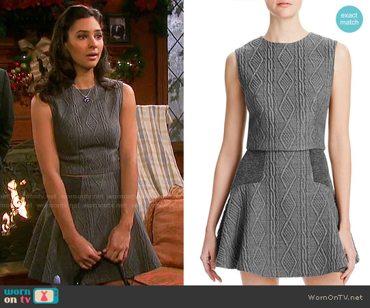 Alice + Olivia Klynn Top and Elsie Skirt in Cable Knit worn by Camila Banus on Days of our Lives