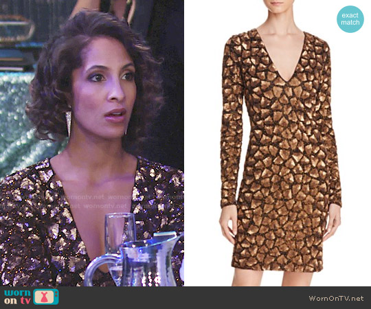 Alice + Olivia Nora dress worn by Christel Khalil on The Young & the Restless
