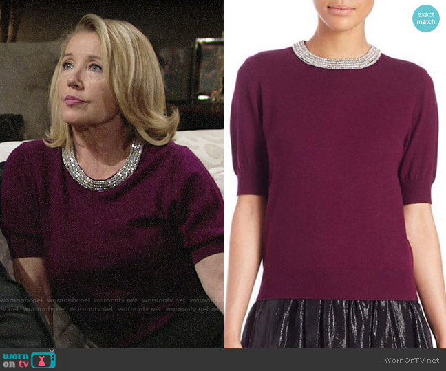 Alice + Olivia Pandora Embellished Sweater in Aubergine worn by Nikki Reed Newman (Melody Thomas-Scott) on The Young & the Restless