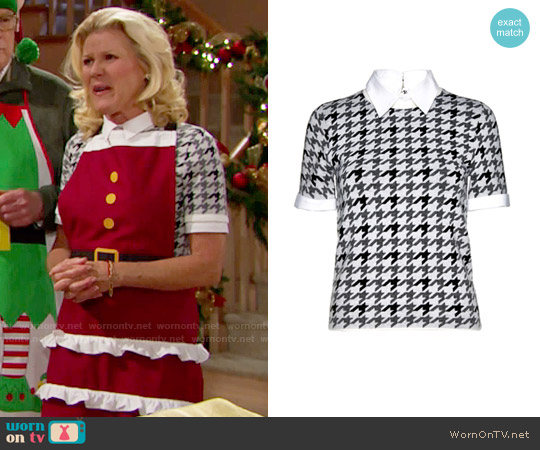 Alice + Olivia Tara Houndstooth Sweater worn by Alley Mills on The Bold & the Beautiful