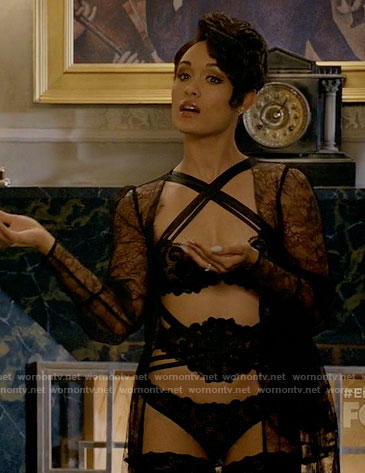 Anika's black lingerie and lace robe on Empire