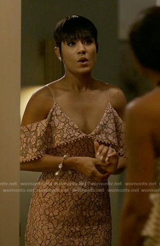 Anika's pink lace off-shoulder dress on Empire