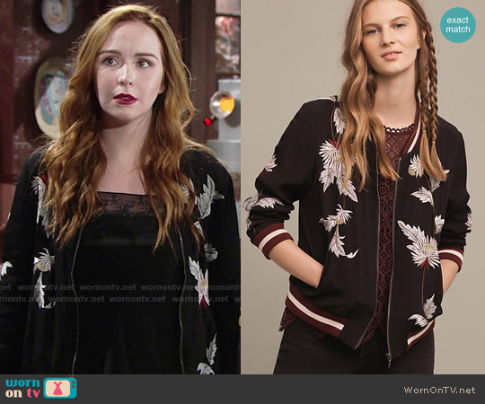 Anthropologie Embroidered Solstice Bomber worn by Camryn Grimes on The Young & the Restless
