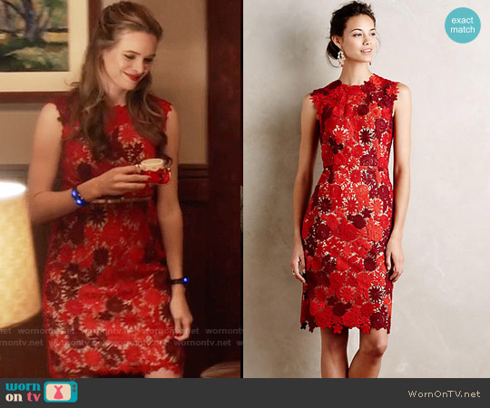 Anthropologie Lace Garden Pencil Dress worn by Caitlin Snow (Danielle Panabaker) on The Flash
