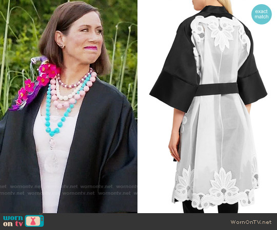 Antonio Berardi Guipure lace-appliquéd satin and organza coat worn by Diana Trout (Miriam Shor) on Younger