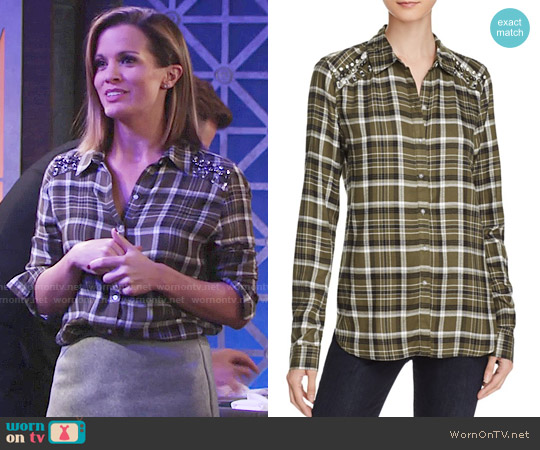 Aqua Embellished Plaid Shirt worn by Chelsea Lawson (Melissa Claire Egan) on The Young & the Restless