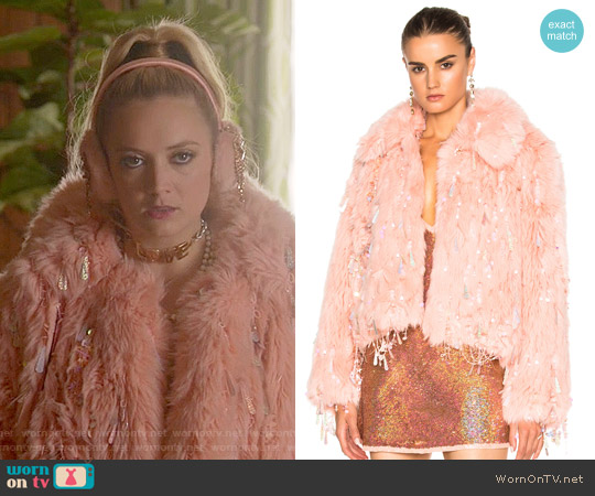 Ashish Faux Fur Dangle Jacket worn by Billie Lourd on Scream Queens