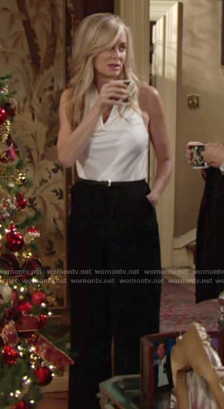 Ashely's black and white draped neck jumpsuit on The Young and the Restless