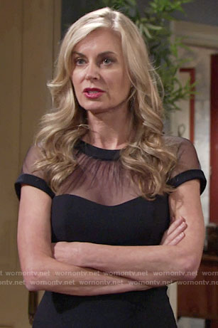 Ashley's black illusion dress on The Young and the Restless