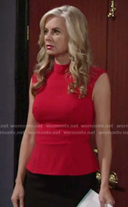 Ashley's red top with lace shoulders on The Young and the Restless
