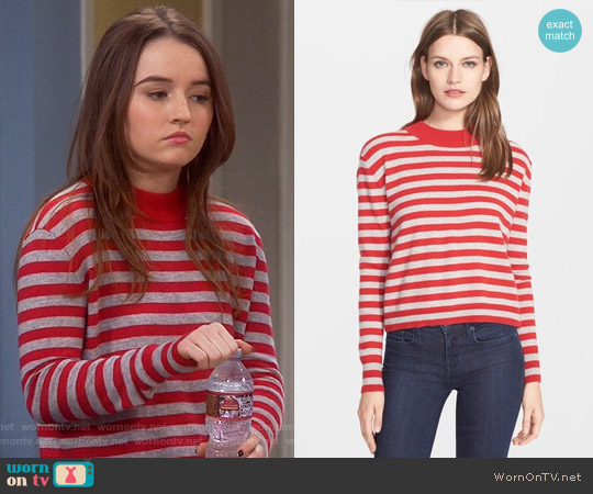 Autumn Cashmere Stripe Mock Neck Cashmere Sweater worn by Kaitlyn Dever on Last Man Standing