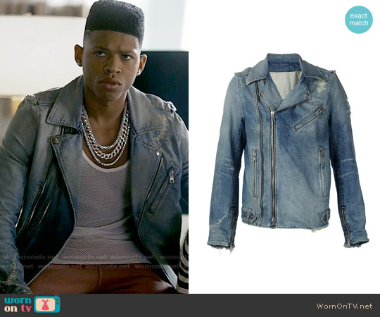 Balmain Destroyed Denim Biker Jacket worn by Bryshere Y. Gray on Empire