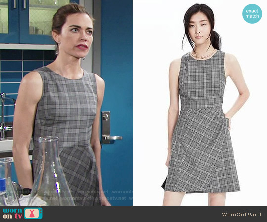 Banana Republic Wool Plaid Fit and Flare Dress worn by Victoria Newman (Amelia Heinle) on The Young & the Restless