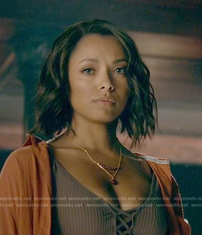 Bonnie's gold and red bead necklace on The Vampire Diaries