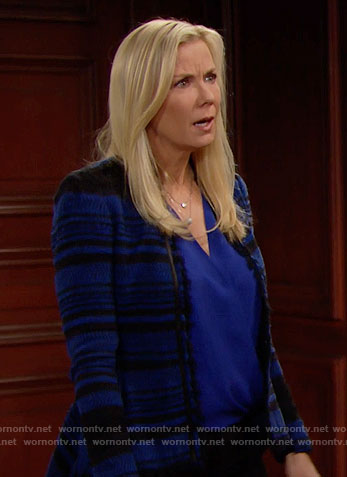 Brooke's blue and black tweed jacket on The Bold and the Beautiful