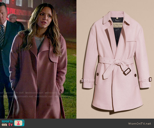 Burberry Wool Wrap Trench Coat worn by Paige Dineen (Katharine McPhee) on Scorpion