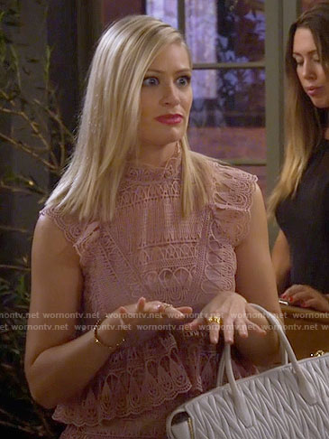 Caroline's pink lace dress on 2 Broke Girls
