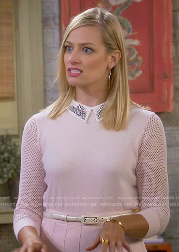 Caroline's pink sweater with embellished collar on 2 Broke Girls