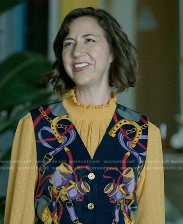 Carol's yellow ruffled neck blouse on Last Man on Earth