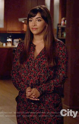 Cece's red printed long sleeve dress on New Girl