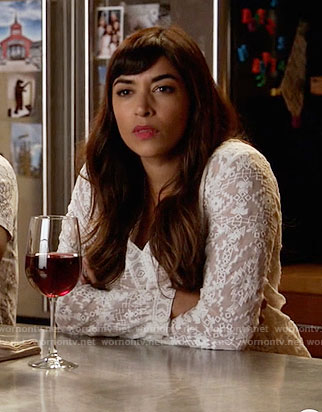 Cece's white embroidered top on New Girl